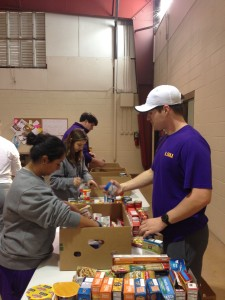 Hardworking LSU students unload a Food Bank delivery in November 2015.